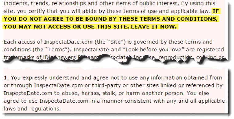 Dating site disclaimer